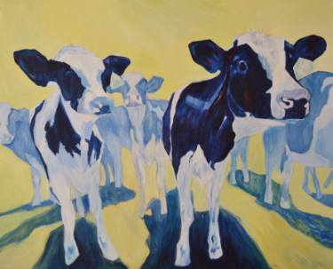 Jane Greensitt Moody blue cows