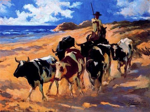 oxen-at-the-beach-1916 sorolla