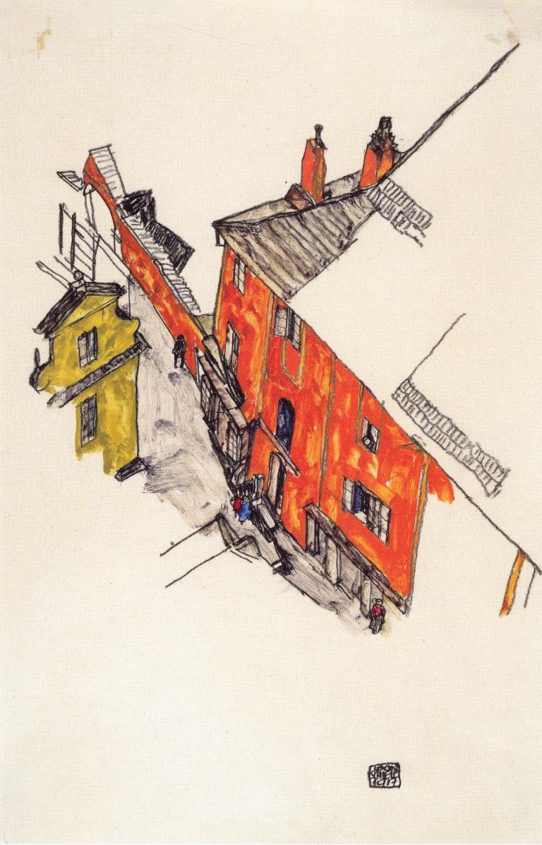 Egon_Schiele_-_Alte_Giebelhäuser_in_Krumau_vom_Schlossberg_aus_-_1917