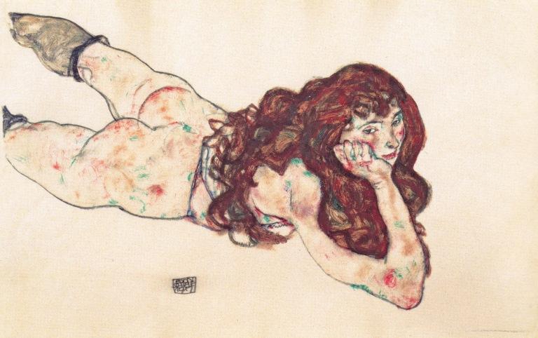 Egon_Schiele_-_Auf_dem_Bauch_liegender_weiblicher_Akt_-_1917
