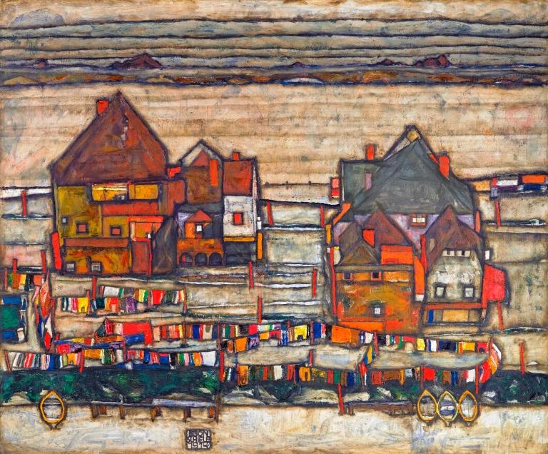 Egon_Schiele_-_Häuser_mit_bunter_Wäsche_(1914)