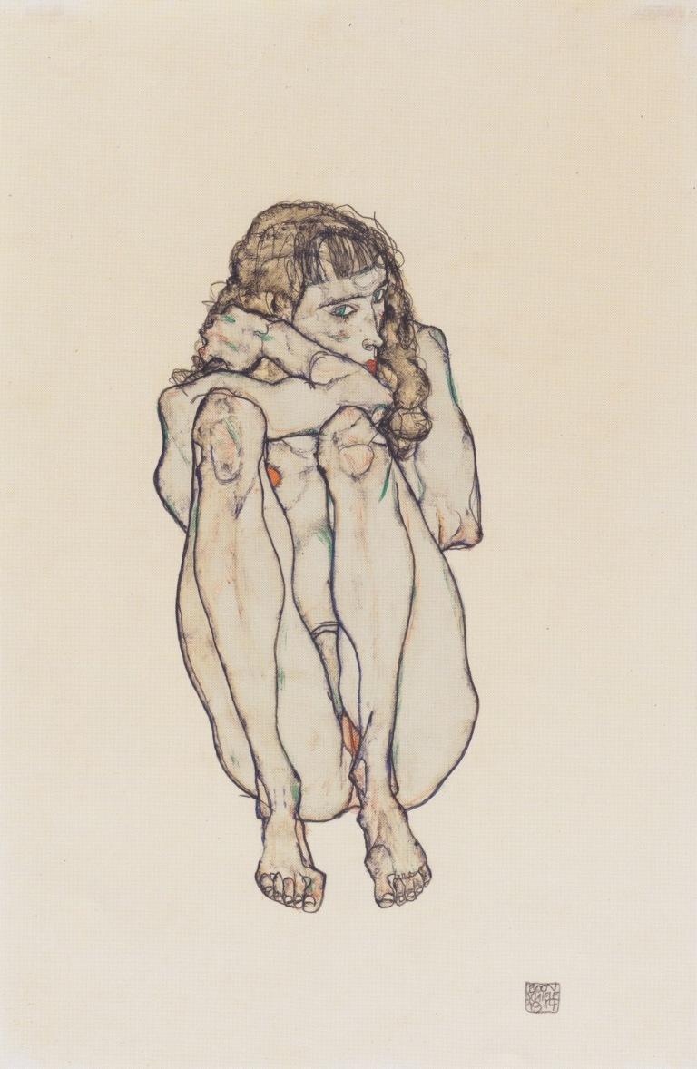 Egon_Schiele_-_Hockender_Frauenakt_-_1914