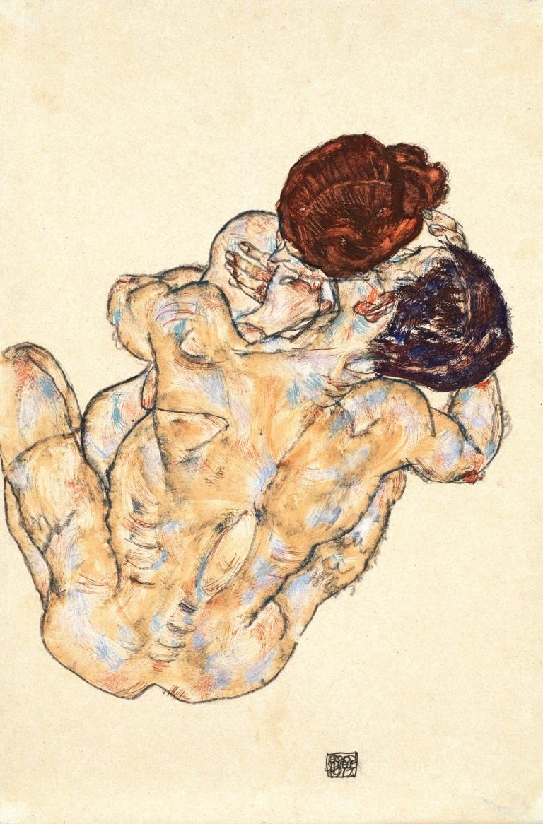 Egon_Schiele_-_Mann_und_Frau,_Umarmung_(1917)