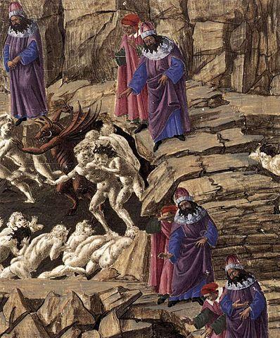 398px-Sandro_Botticelli_-_Inferno,_Canto_XVIII_(detail)_-_WGA02855