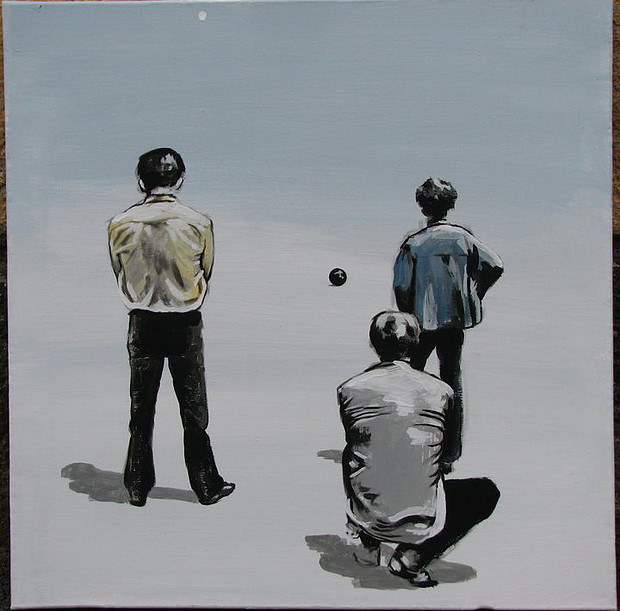 two people counting a ball III